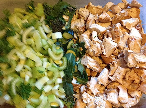 Chop the celery, broccoli,zucchini, and chicken. Add to bowl with the shell pasta. Add the dressing....