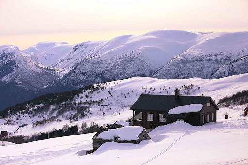 Norway-Aurlandsfjord-Flam-winter - A visit to the remote hillsides of Flam, Norway, during winter offers dramatic vistas.
