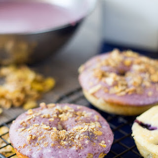 Baked Blueberry Donuts with Fresh Blueberry Glaze