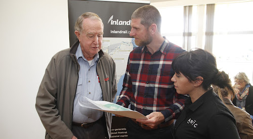 Resident Rob Walker, ARTC-Inland Rail Environment Advisor Matthew Errington and NSW Environment manager Stephanie Mifsud.