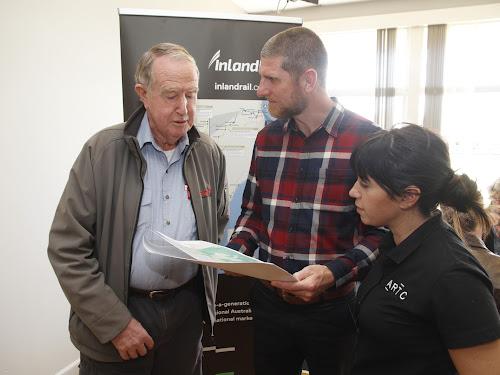 Resident Rob Walker, ARTC-Inland Rail Environment Advisor Matthew Errington and NSW Environment manager Stephanie Mifsud.