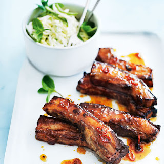 Sticky Chilli Ribs With Coconut And Cabbage Slaw.