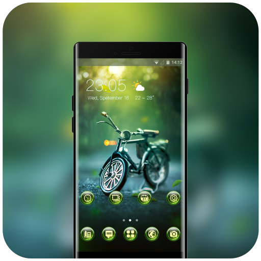 Theme for sony xperia XA2 ultra bokeh little bike icon