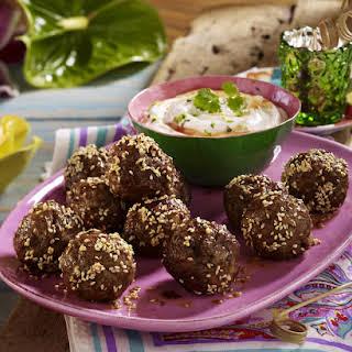 Sesame Meatballs with Yogurt Dip.
