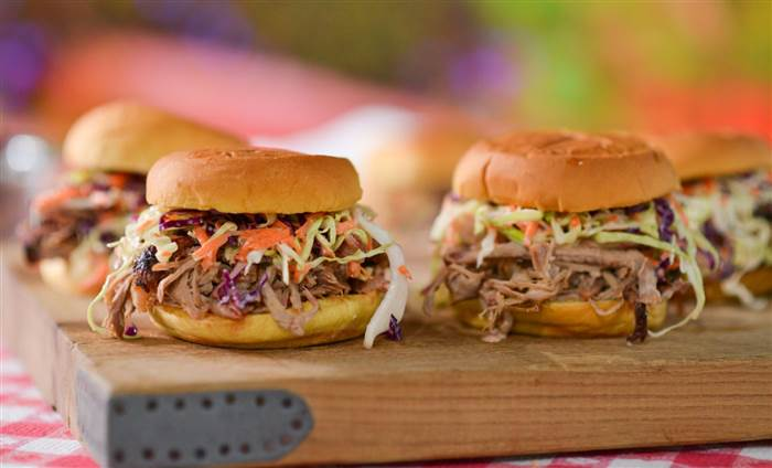 Homemade Pulled Pork Sandwich with Coleslaw and BBQ Sauce