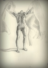 """Photo: """"Praise the world to the Angel, not the unsayable,"""" sketch in-process, 2012, 21cm x 29cm, 8"""" x 11.5"""", graphite, Moleskine folio Sketchbook A4. Title is a quote from Rilke's 9th Duino Elegy."""