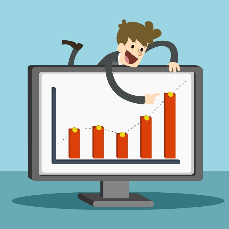 Consultor mostrando gráficos de crescimento