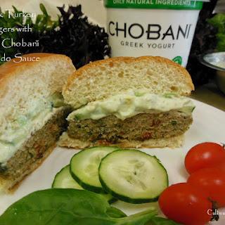 Greek Turkey Burgers with Zesty Chobani Avocado Sauce