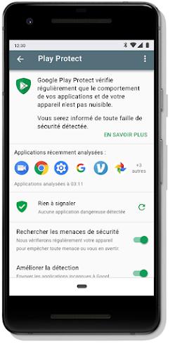 Écran du tableau de bord Google PlayProtect sur un mobile