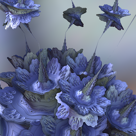 Periwinkle Blues by Glenda Popielarski - Illustration Abstract & Patterns ( mandelbulb3d, blue, mandelbulb, fractal, abstract, digital art )