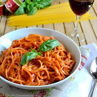 Pasta with Skinny Creamy Tomato Sauce.