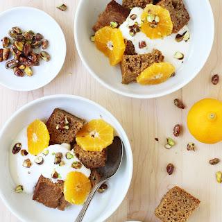 Orange and Cardamom Carrot Cake with Vanilla Yogurt and Candied Pistachios