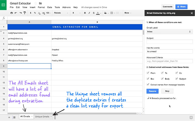 Email Address Extractor - Google Sheets add-on