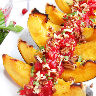 Roasted Acorn Squash with Cranberry Sauce