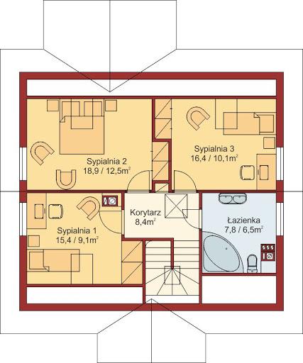 Domek Ciepły 012 BK + Z - Rzut poddasza