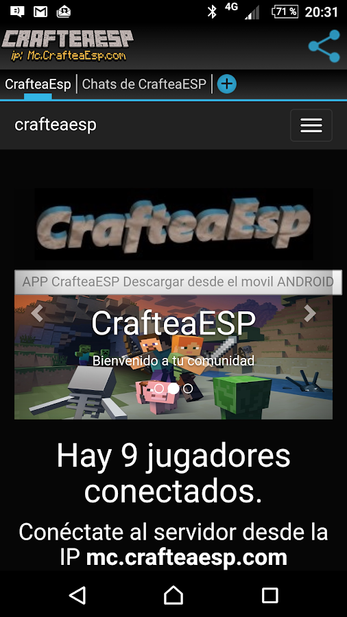 Crafteaesp Minecraft Network: captura de pantalla