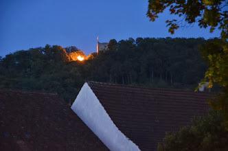 Photo: Das Höhenfeuer auf dem  Wartenberg.   Leider wurde das anschliessende Feuerwerk gestört und konnte nicht rechtzeitig präsentiert werden. Schade. Leider eine Zeiterscheinung