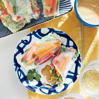 Veggie Spring Rolls with Cashew-Ginger Dipping Sauce