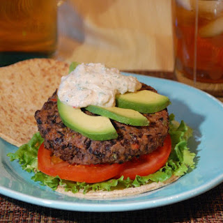Black Bean Burgers with Spicy Yogurt Topping