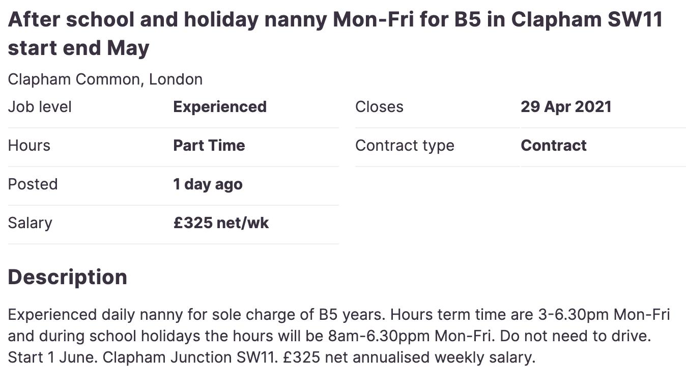 screenshot of travel nanny job posting