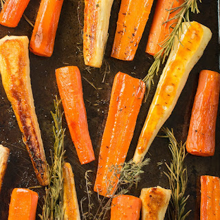 Honey Roasted Carrots And Parsnips.