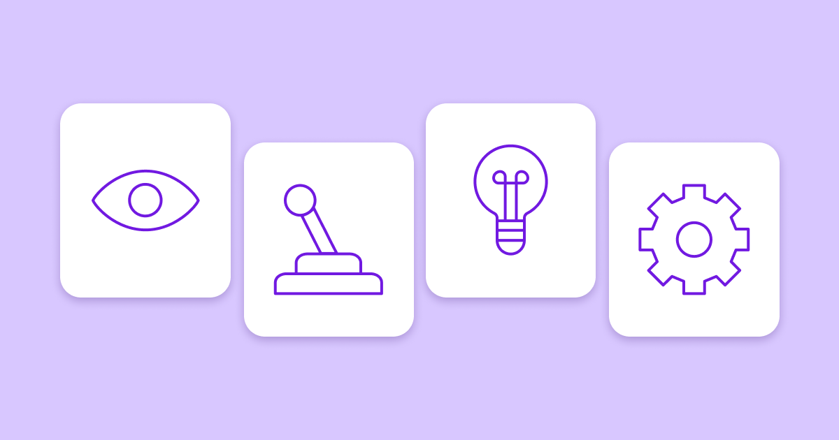 Four white boxes on a purple background, each containing one of four illustrations: an eye, a joystick, an lightbulb, and a gear.