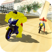 Super hero stunt bike - mega ramp racing