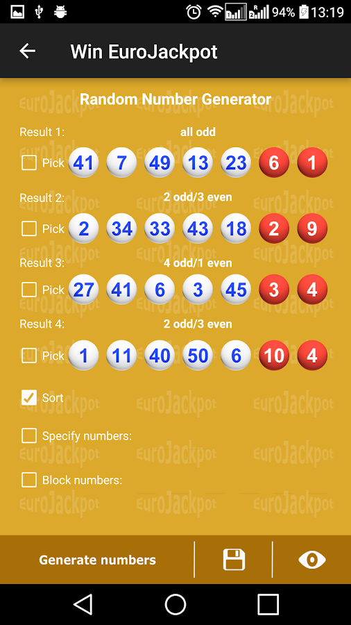 Eurojackpot Generator App