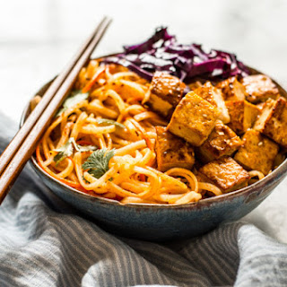 Easy Coconut Curry Stir Fry Noodles with Glazed Tofu.