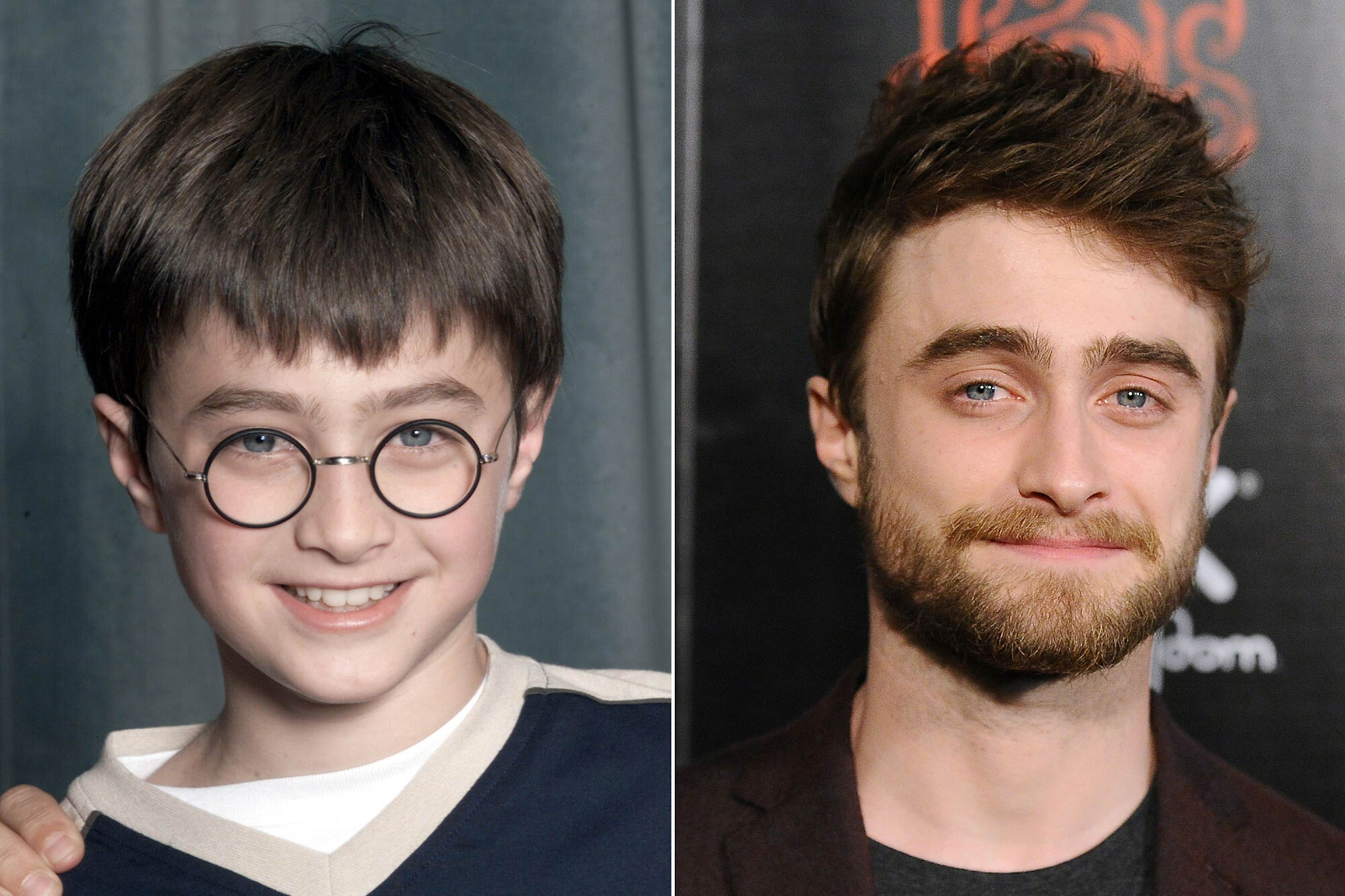 Two photos comparing a young and older Daniel Radcliffe.
