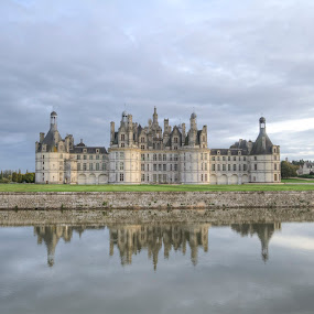 Chambord Chateau  by Carol Henson - Buildings & Architecture Public & Historical ( château, reflection, 7d, chambord, loire valley, 2012, france, october, landscape, chateau )