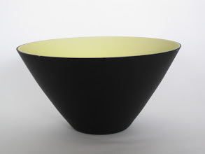 """Photo: Nason, Carlo; Vincenzo Nason & C. Glassworks. Opaque black and yellow two-layer glass; mold-blown. Ground top rim, tapered to small base area; both inner and outer surfaces have hydrofluoric acid """"satin"""" finish. Corning Museum."""