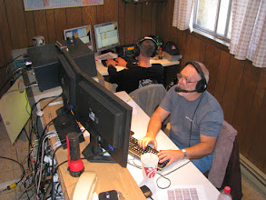 Photo: Jason KJ4EOO (background) on 40m SSB and Terry W8ZN (foreground) on 20m SSB