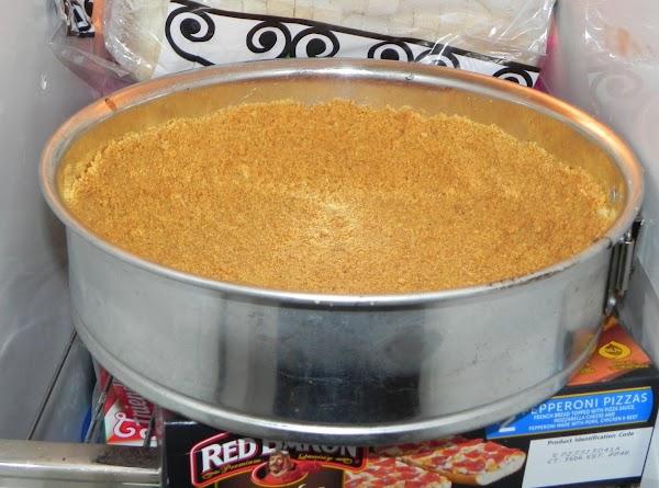 In small bowl mix graham cracker crumbs, butter and 2 Tbsp. sugar.  Press...
