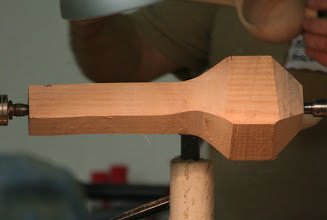 Photo: Ok, now down to business. Mike is going to make a ladle out of this presawn oak blank.
