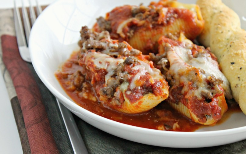 Ultimate Stuffed Shells with Cheese, Beef, Mushrooms, and Olives