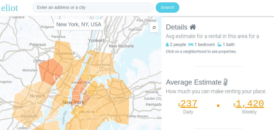 Airbnb income estimate [Via Elliot Calculator]