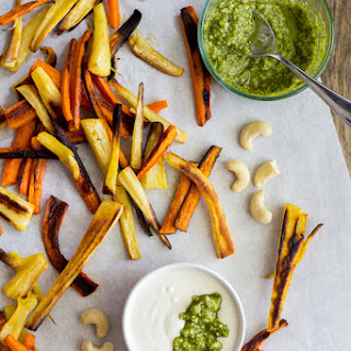 Carrot and Parsnip Fries With Cashew Pesto Dipping Sauce.