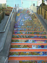 Photo: Top three flights of steps of the Hidden Garden Steps (16th Avenue, between Kirkham and Lawton streets in San Francisco's Inner Sunset District) as KZ Tile workers finished installing more than 50 pieces of the 148-step ceramic-tile mosaic designed and created by project artists Aileen Barr and Colette Crutcher. For more information about this volunteer-driven community-based project supported by the San Francisco Parks Alliance, the San Francisco Department of Public Works Street Parks Program, and hundreds of individual donors, please visit our website at http://hiddengardensteps.org.