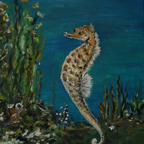 The Spectacular Seahorse by Rhonda Lee - Painting All Painting ( unique, art design, beautiful, art, rokinronda, ocean, painting, seahorse )