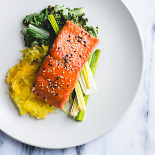 Sesame Salmon with Roasted Leeks and Spaghetti Squash
