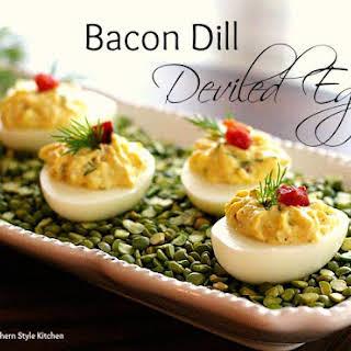 Bacon Dill Deviled Eggs.