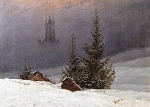 """Photo: Caspar David Friedich, """"Paesaggio invernale con chiesa"""" (1811)"""
