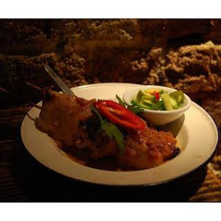 Grilled Chicken Satay With Thai Peanut Sauce.