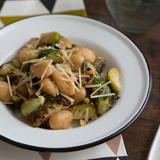 Gnocchi with Roasted Brussels Sprouts, Lemon & Pine Nuts.