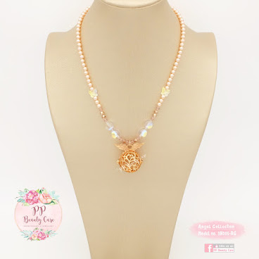 Model no.3N00​5​-RG_Angel Collection: ​Swarovski pearl ​Rose Gold essential oil necklace diffuser 天使系列: ​Swarovski​珍珠玫瑰金精油項鏈