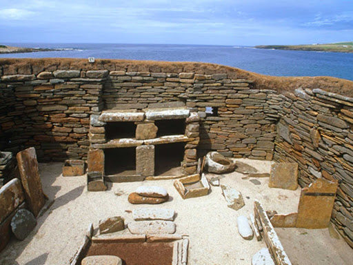 Skara Brae is a stone-built Neolithic settlement on the Bay of Skaill on the west coast of Mainland, the largest island in the Orkney region, Scotland.