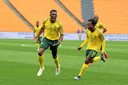 Bafana Bafana strikers Lebo Mothiba and Percy Tau celebrate a goal against  the Seychelles. / Frennie Shivambu/ Gallo Images