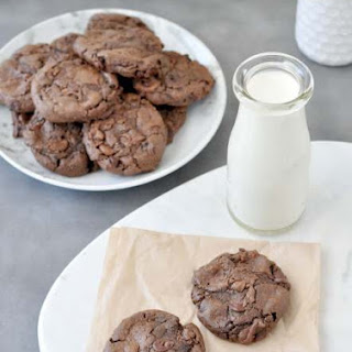 Flourless Keto Chewy Double Chocolate Chip Cookies.