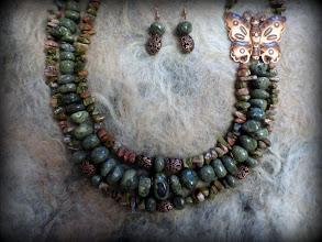 Photo: # 213 BUTTERFLIES ARE FREE Copper butterfly pendant, serpentine, unikite, leopard jasper, copper $130/set SOLD